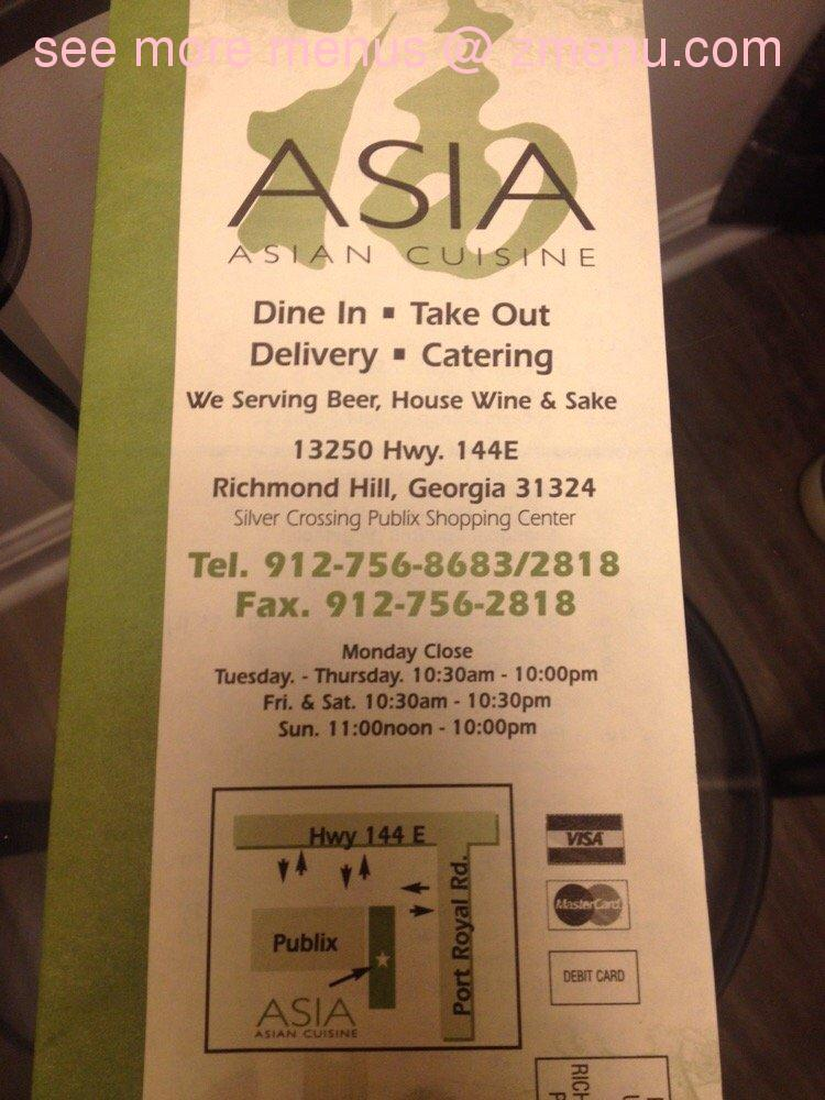 Online menu of asia asian cuisine restaurant richmond for Asian cuisine richmond hill ga