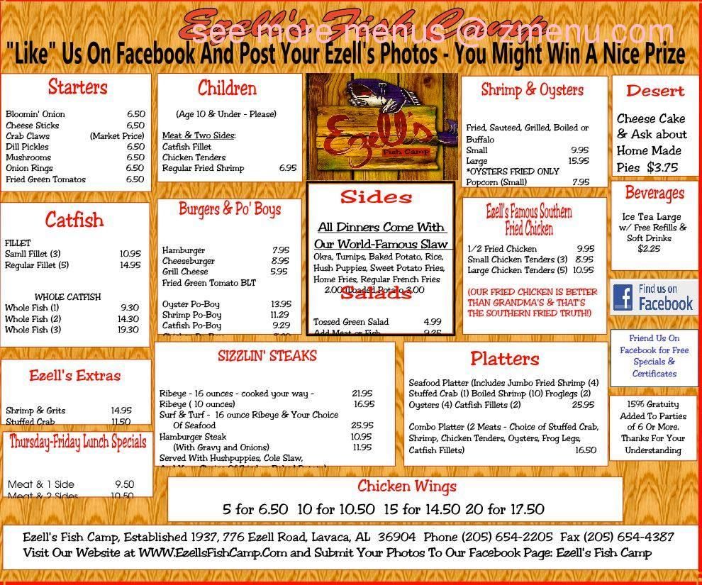 Online menu of ezells fish camp restaurant butler for Fish camp menu