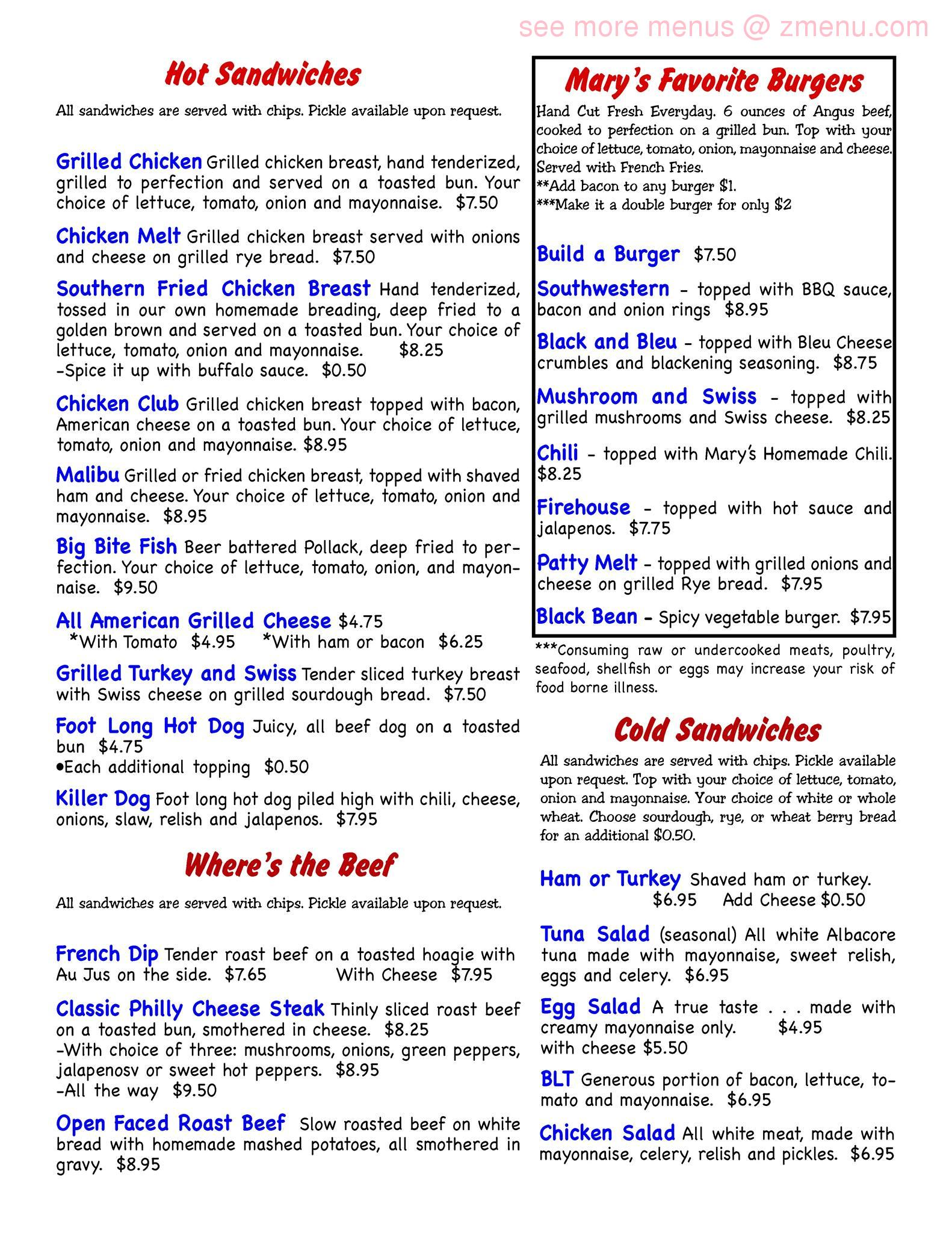 Online Menu of Mary Ellen\'s Southern Grill Restaurant, Young Harris ...