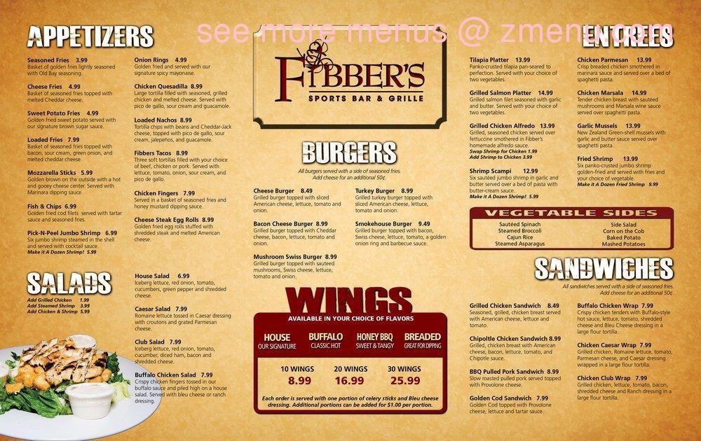 Fibbers Restaurant Menu