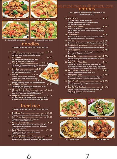 menu of charm thai restaurant chino california