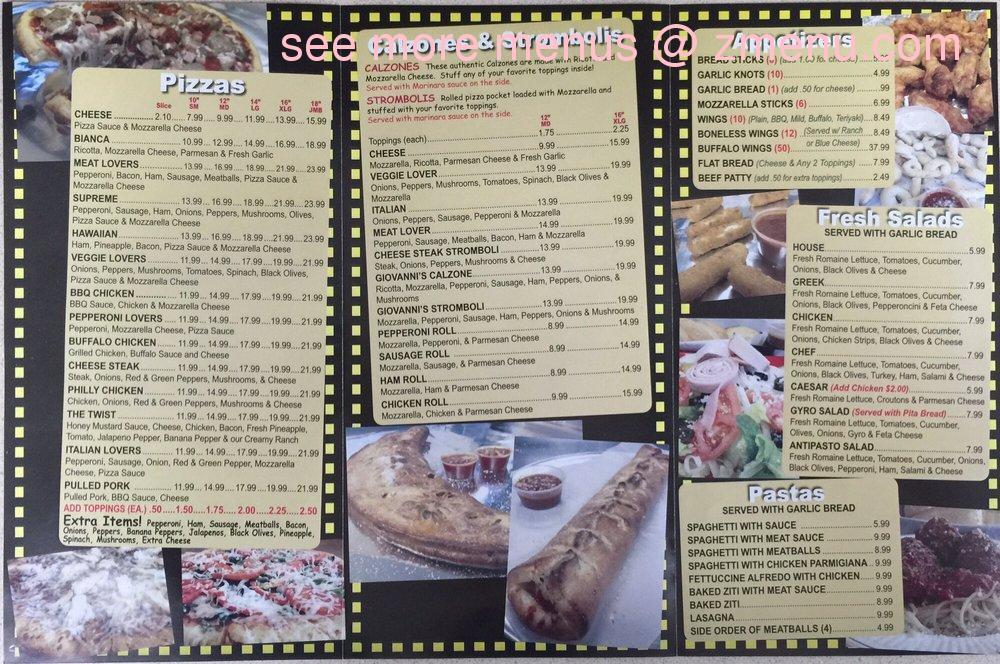 Online Menu of Giovannis Pizza & Subs Restaurant, Davenport