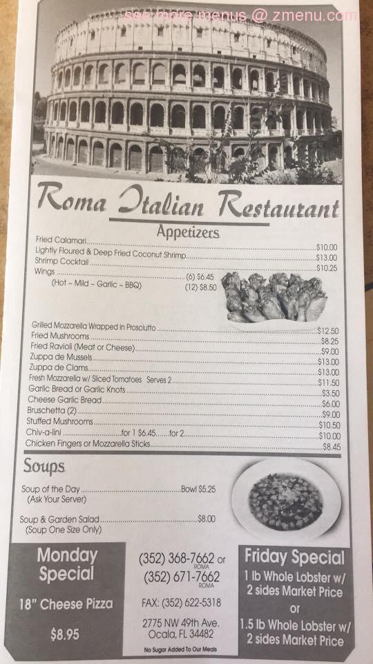 Roma Italian Restaurant Menu Ocala Fl