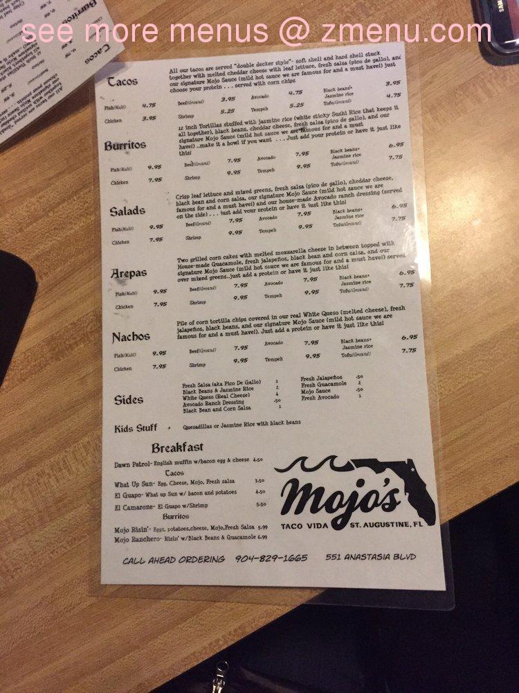 Online Menu of Mojos Tacos Restaurant, St  Augustine