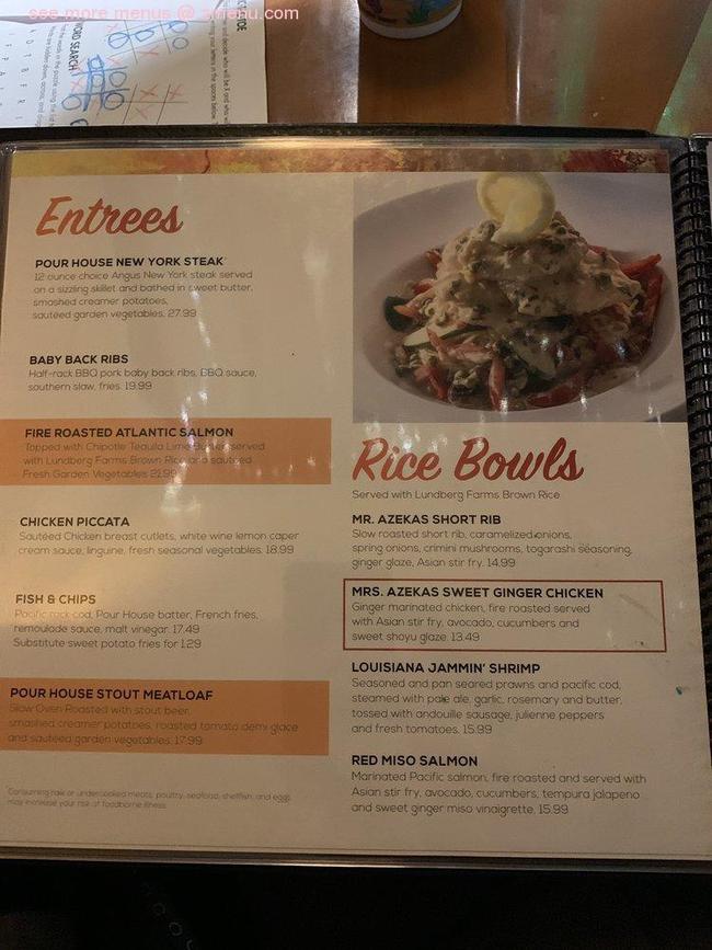 Online Menu of The Pour House Restaurant, Chico ...