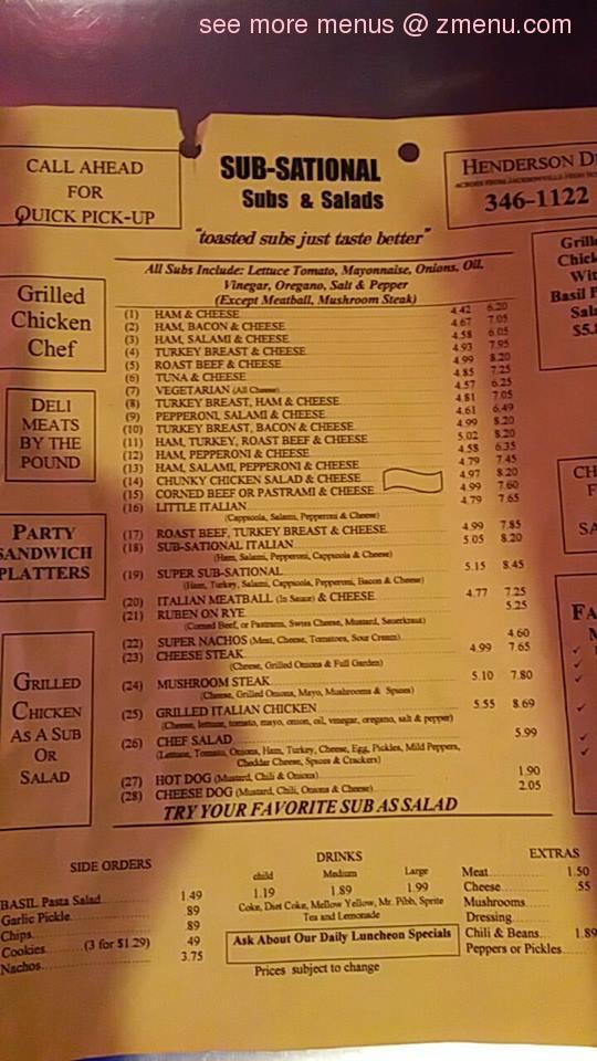 Online Menu Of Sub Sational Deli Sub Shop Restaurant Jacksonville