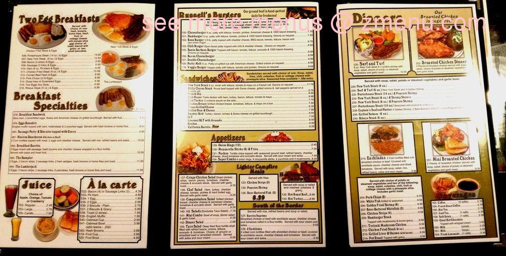 Online Menu Of Russells Family Restaurant Restaurant Chico