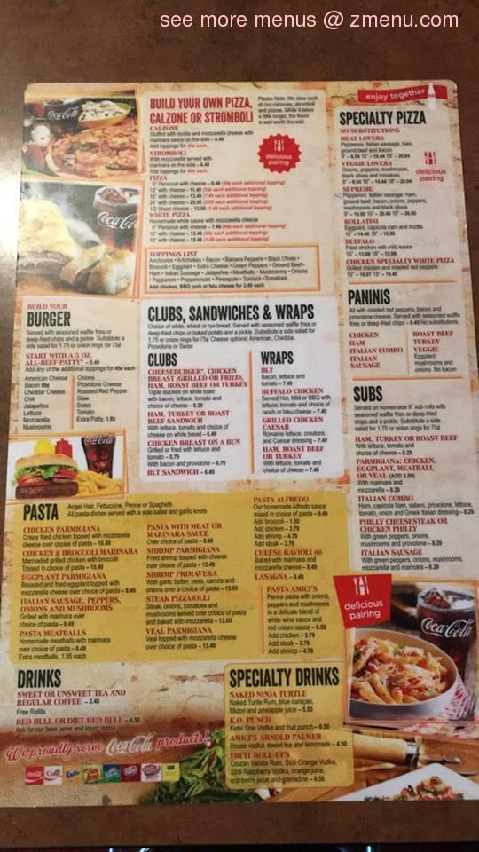 Online Menu Of Amicis Pizza Sports Bar And Grill