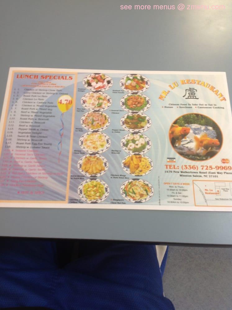 Online Menu of Mr Lu\'s Chinese Restaurant Restaurant, Winston Salem ...