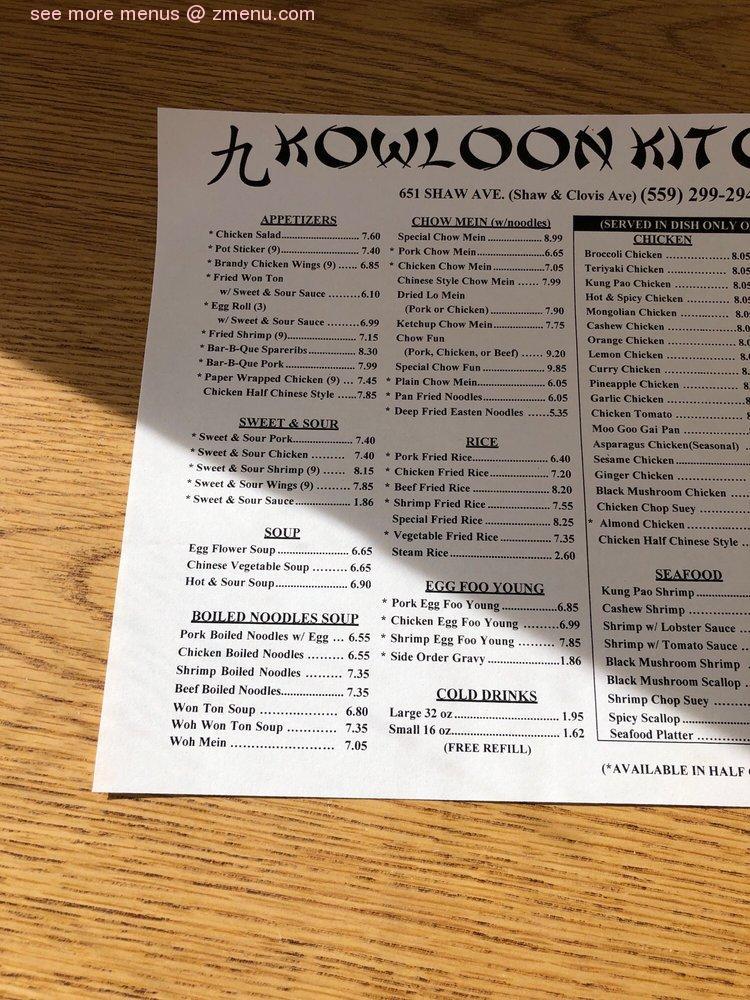 Online Menu Of Kowloon Kitchen Restaurant Clovis California 93612 Zmenu