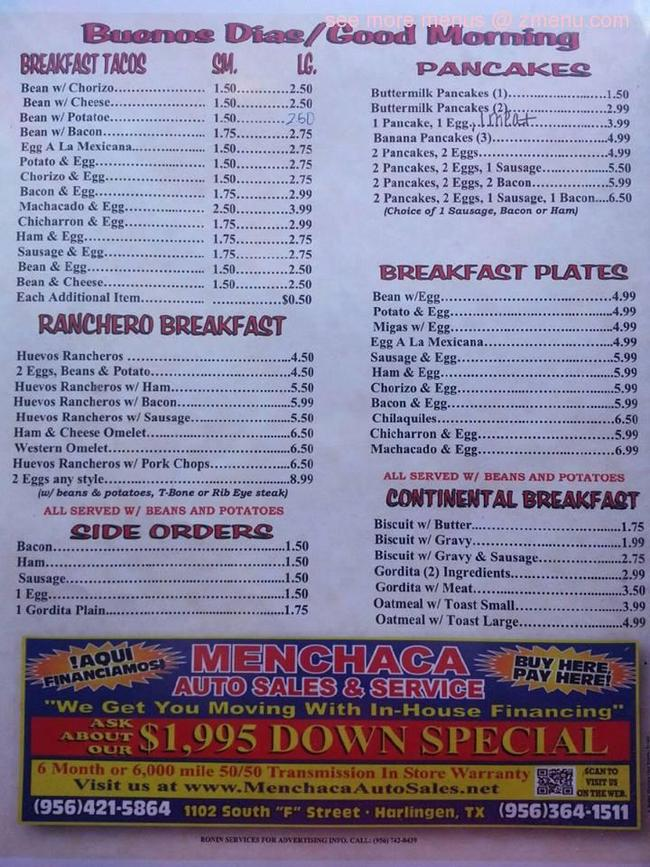 Online Menu of El Rancho Restaurant, Harlingen, Texas