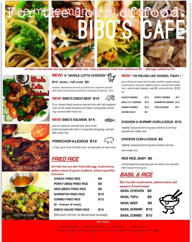Bibos Cafe Menu