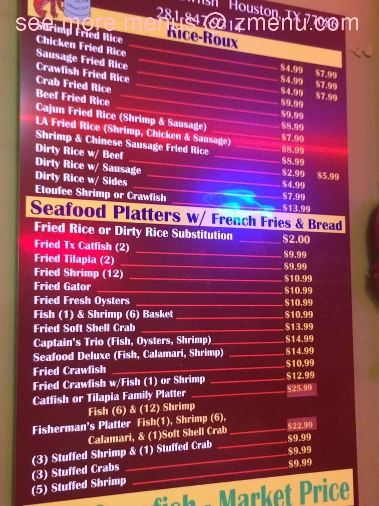 Online Menu Of La Cajun Crawfish Restaurant Houston