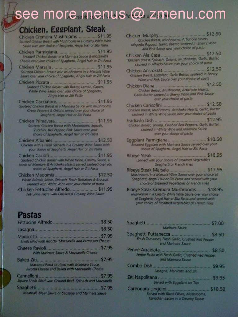 Online Menu Of Joe S Italian Grille And Restaurant