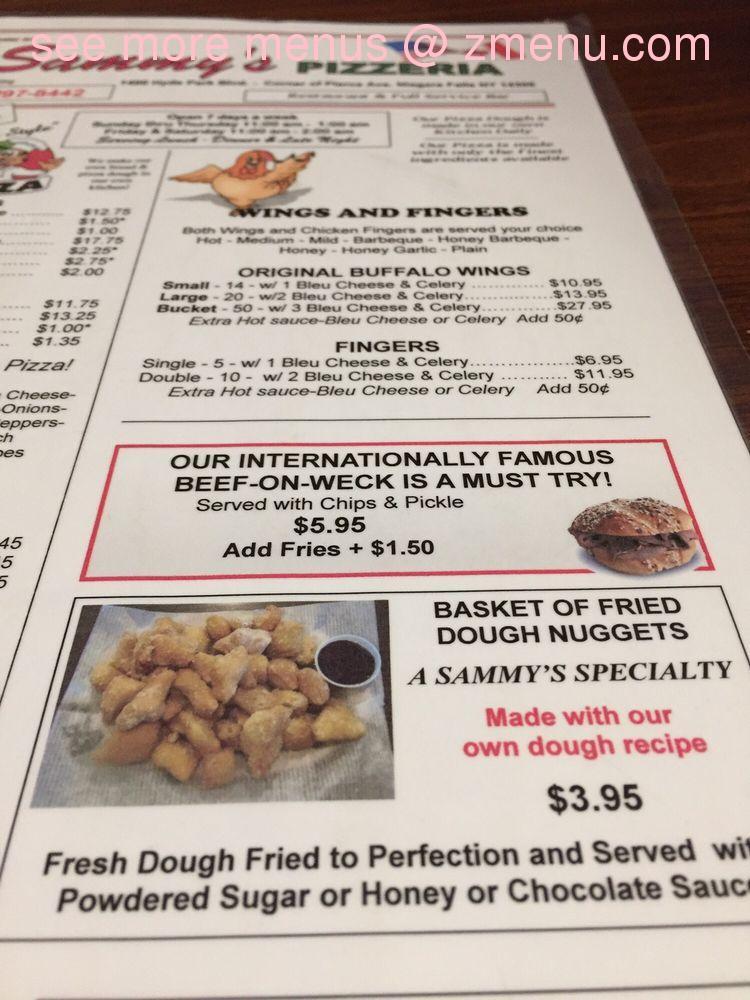Online Menu of Sammys Pizzeria Restaurant, Niagara Falls