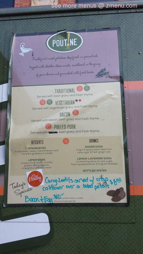 Le petit poutine food truck menu