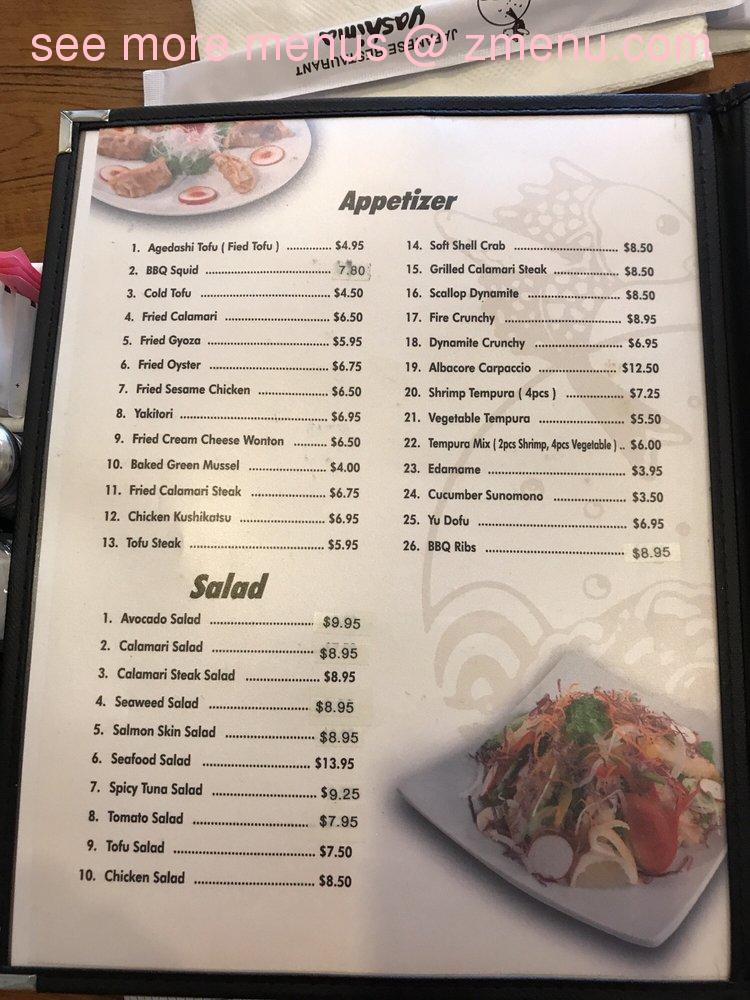 Menu At Yashima Restaurant Covina