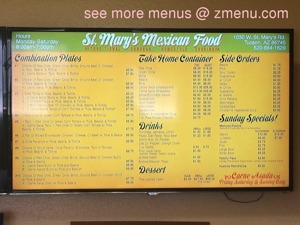 Oasis Mexican Food Menu