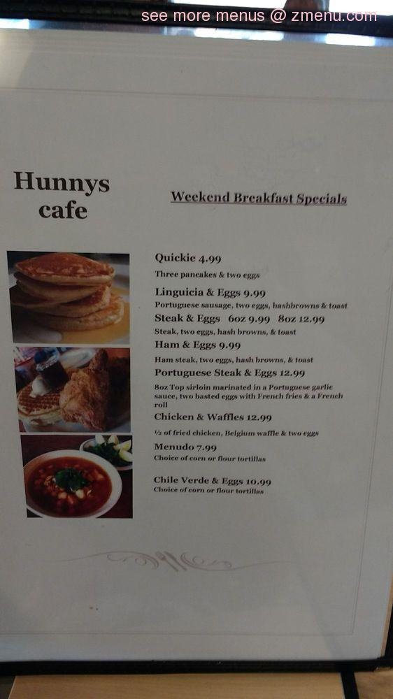 Online Menu Of Hunnys Cafe Restaurant Corona California