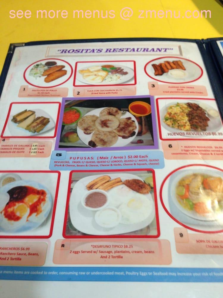 Rosita Restaurant Menu Alexandria Va