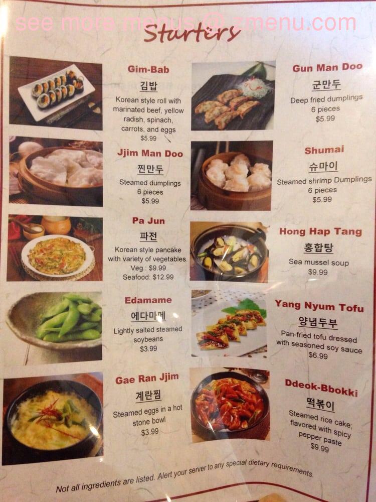 Hanwoori Korean Restaurant Virginia Beach Va Menu