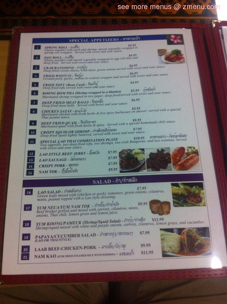 Online Menu Of Lao Thai Restaurant Restaurant Fresno California