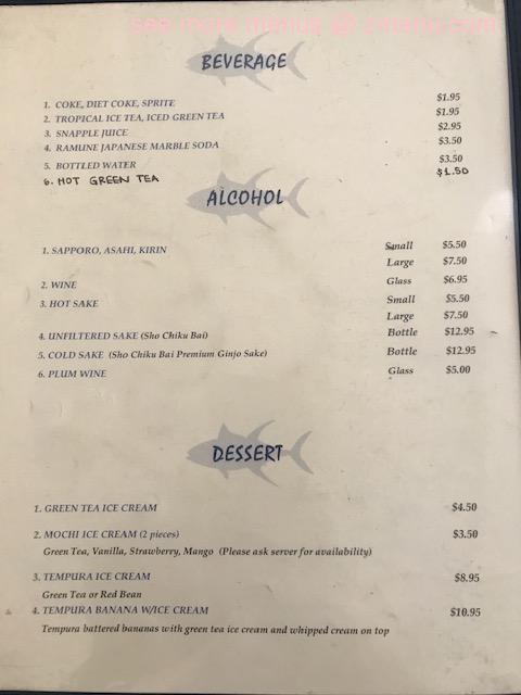 Online Menu Of Goleta Sushi House Restaurant Goleta California