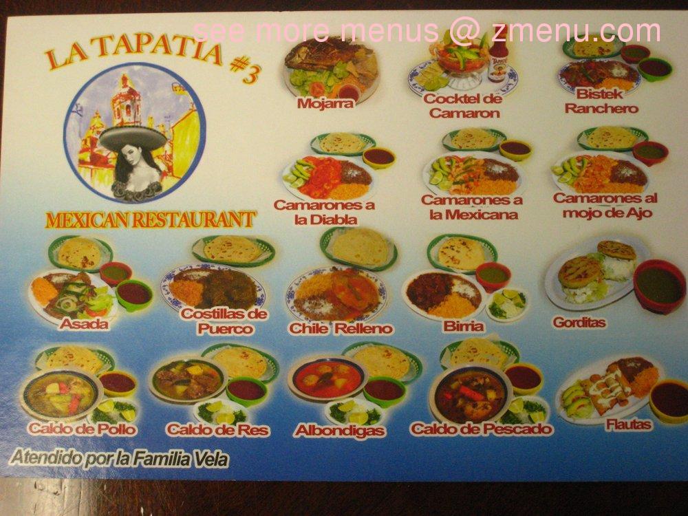 La Tapatia Mexican Cafe Menu