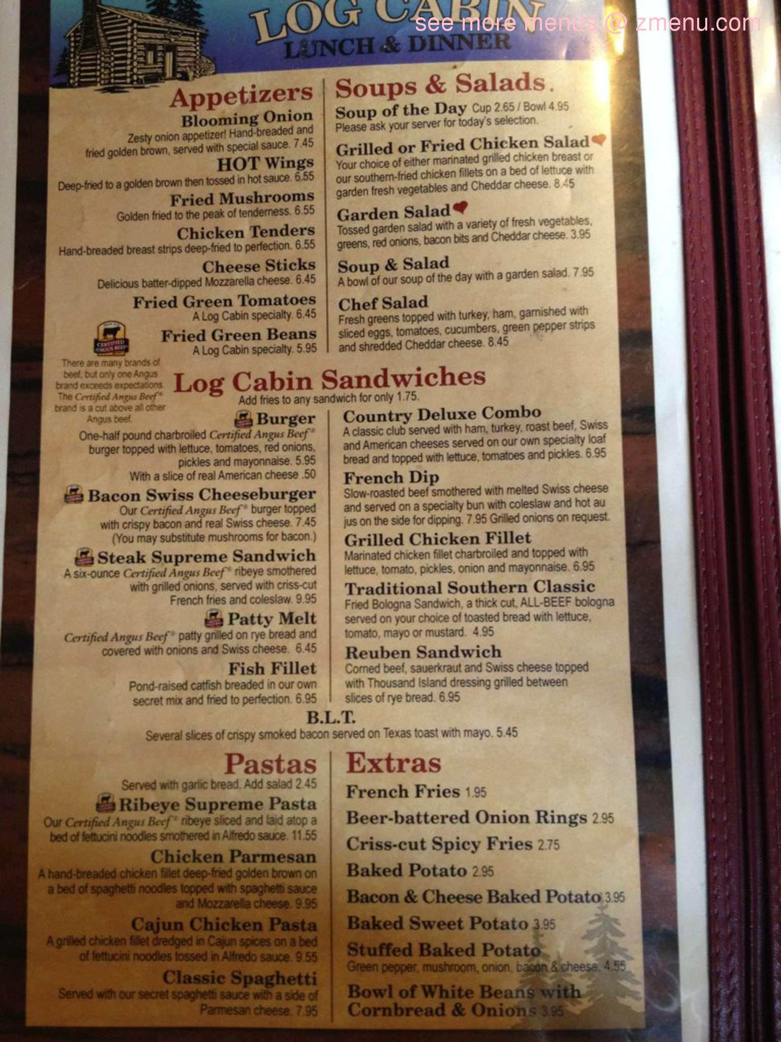 Log Cabin Restaurant Hurricane Mills Tn Menu