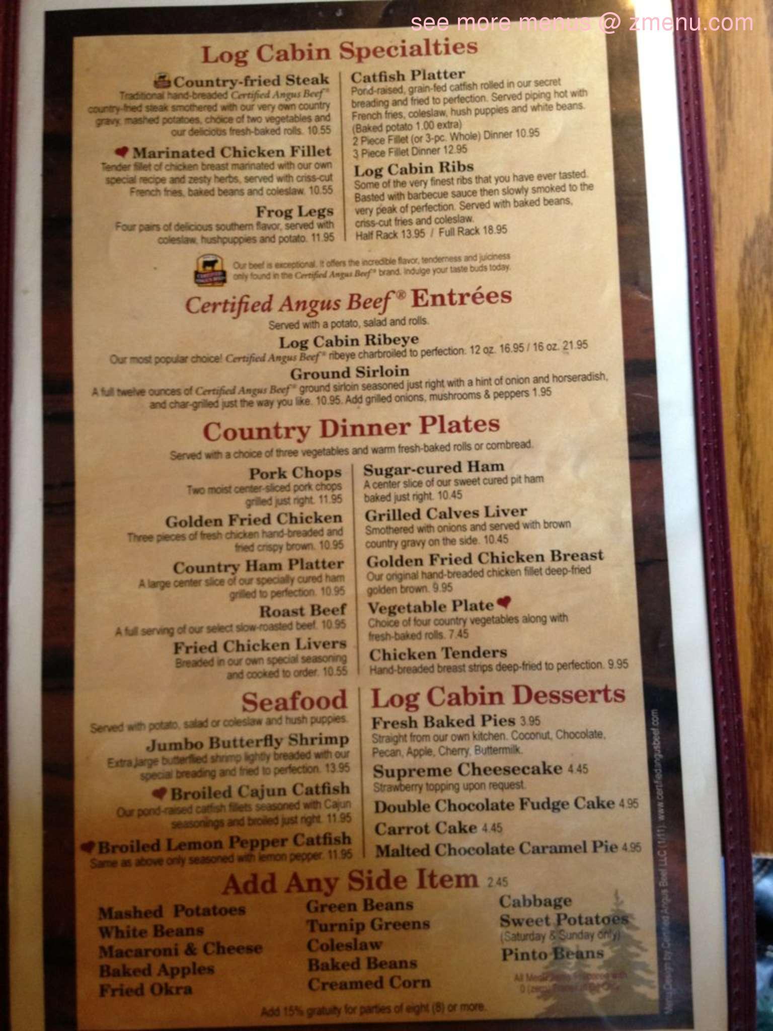 online menu of the log cabin restaurant hurricane mills