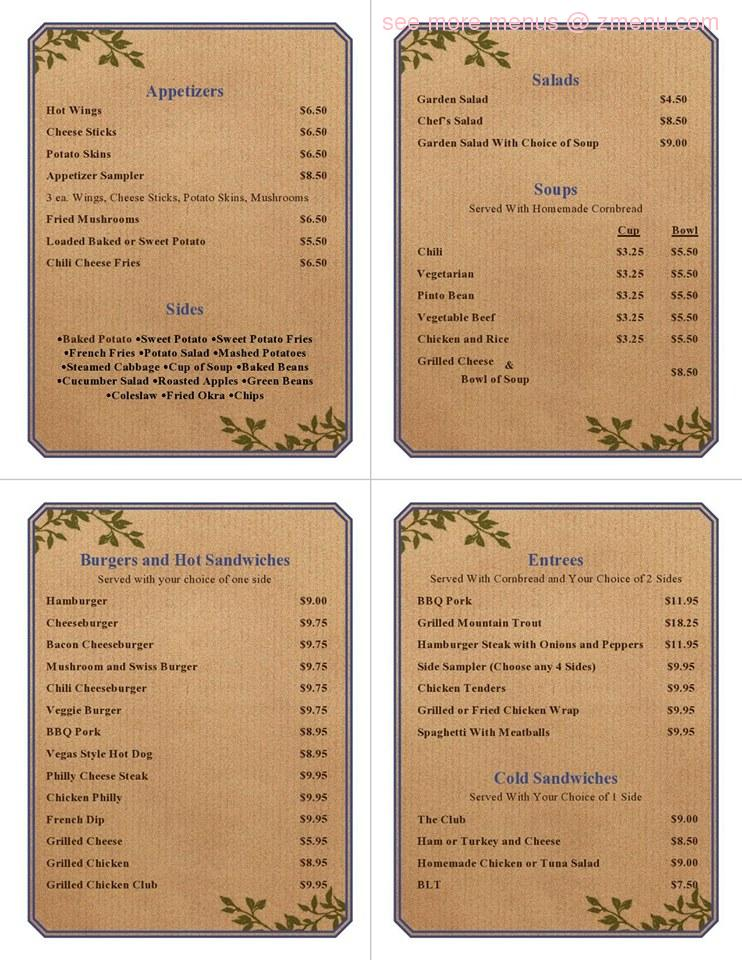 Mt Mitchell Restaurant Menu