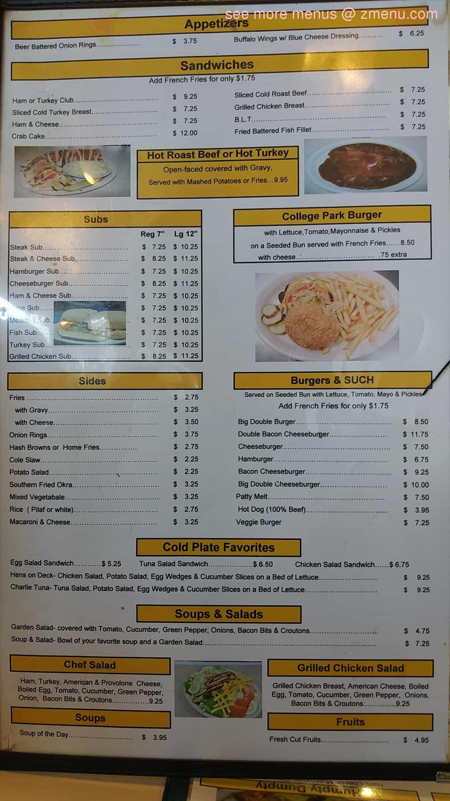 Online Menu Of College Park Diner Restaurant College Park