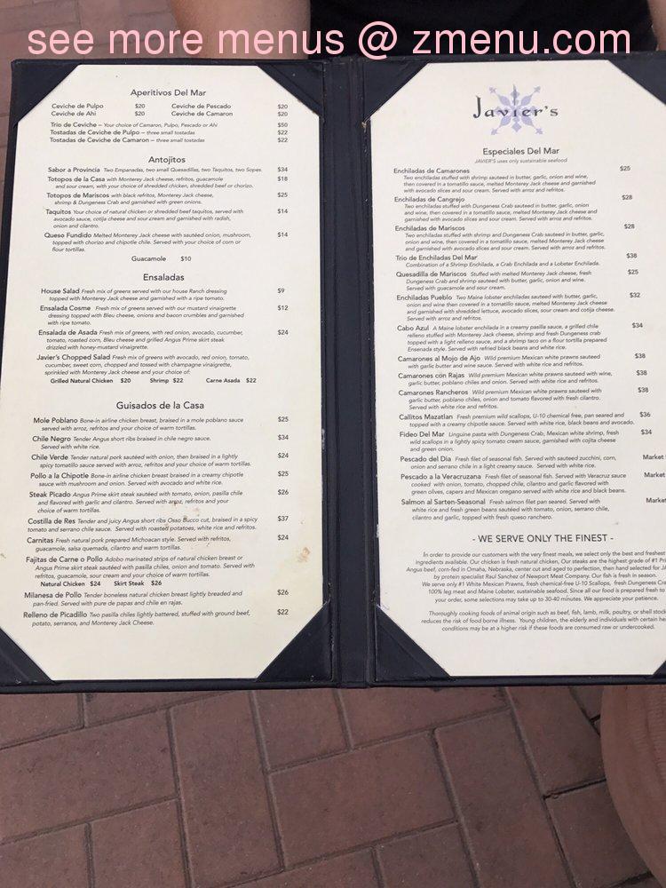 Online Menu Of Javier S Restaurant Santa Ana California 92707 Zmenu