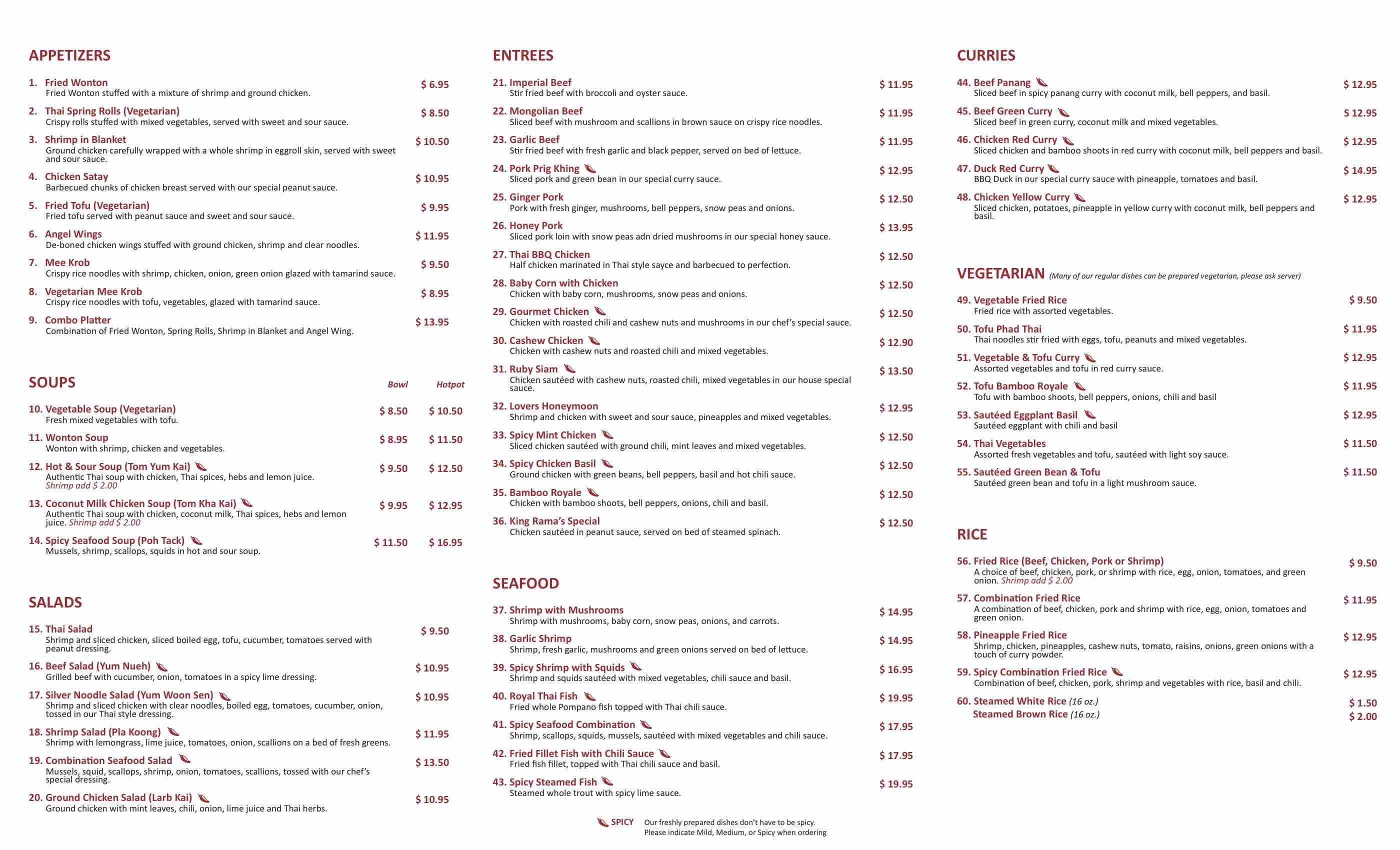 Online Menu of Thai Kitchen Restaurant, Irvine, California, 92614 ...