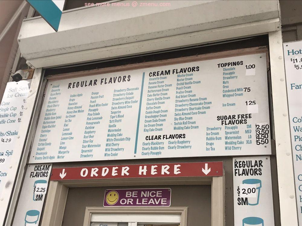 Online Menu of Pandoras Snowballs And Soft Serve Ice Cream ...