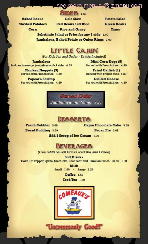 Creole Country Cafe Menu