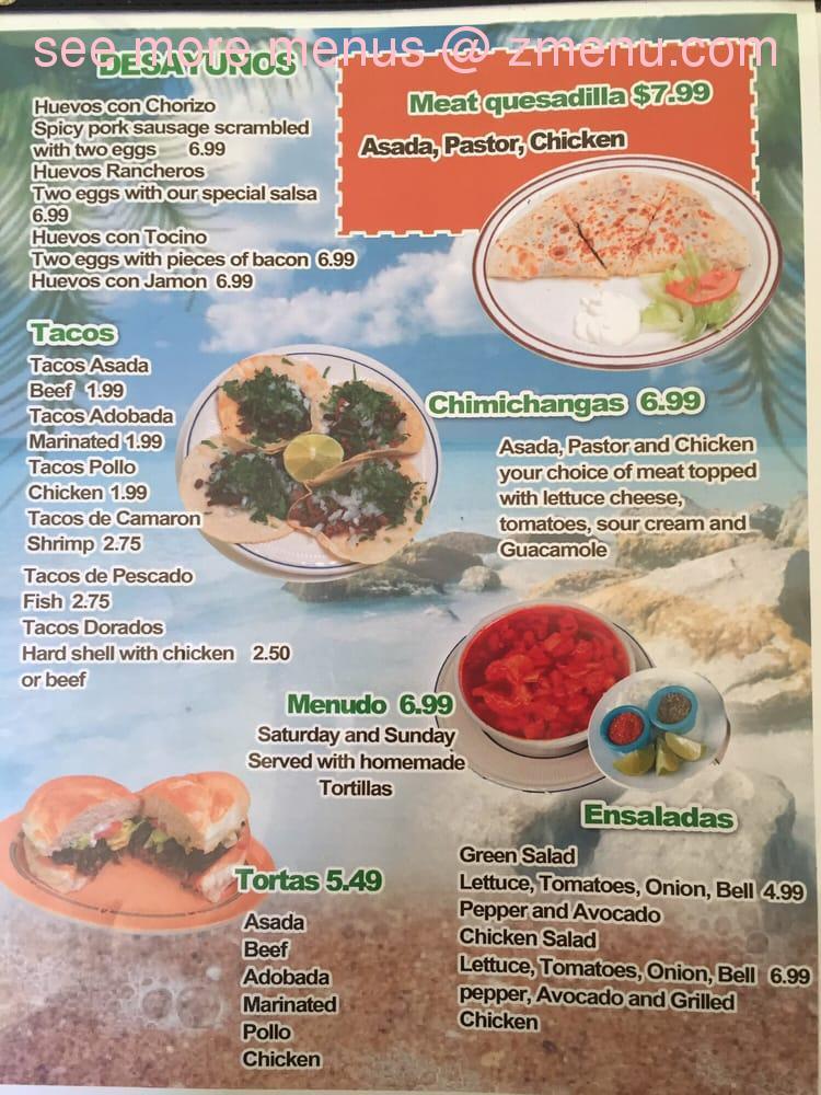 Online Menu Of El Palmar Restaurant Lompoc California 93436 Zmenu