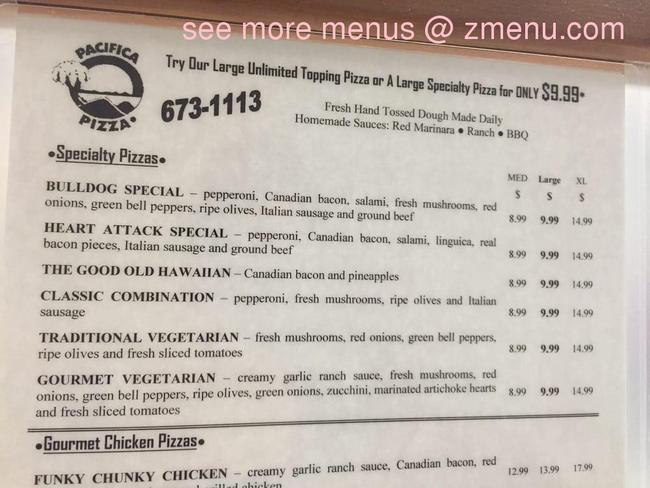 Online Menu Of Pacifica Pizza Restaurant Madera