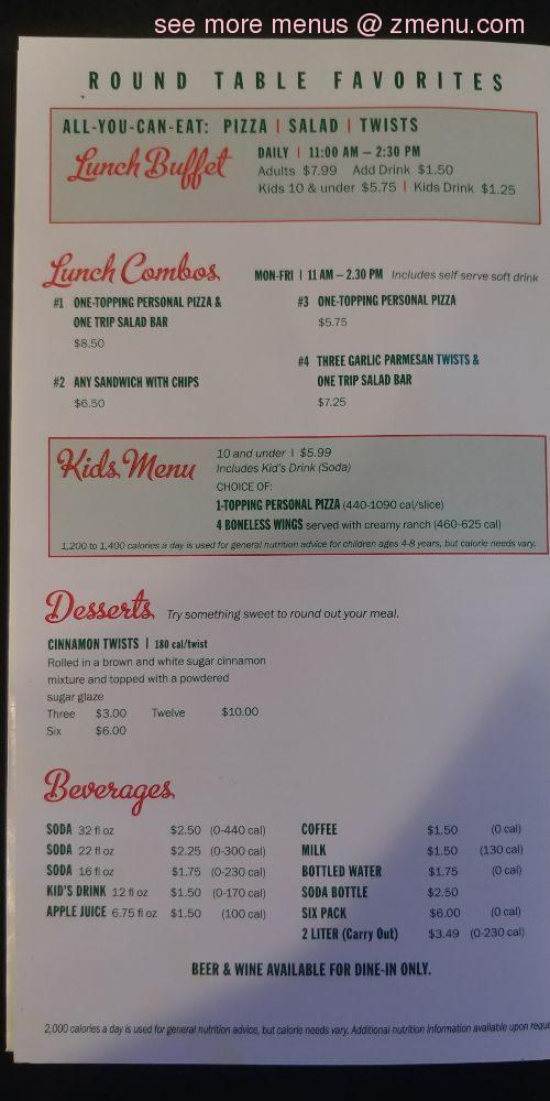 Online Menu Of Round Table Pizza Restaurant Marina California 93933 Zmenu