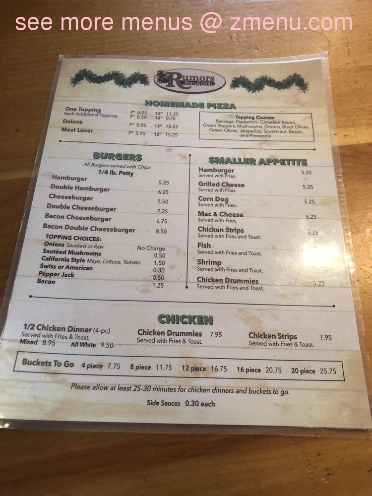 Rumors Bar And Grill >> Online Menu Of Rumors Bar Grill Restaurant Rice