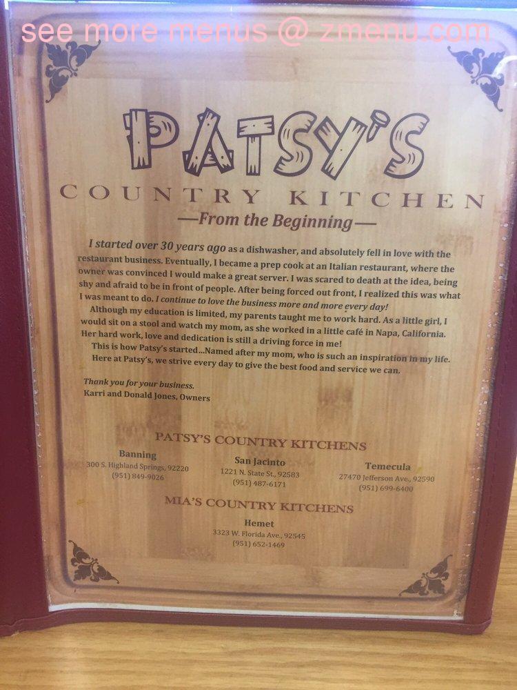 Country Kitchen Restaurant Menu online menu of patsy's country kitchen restaurant, banning