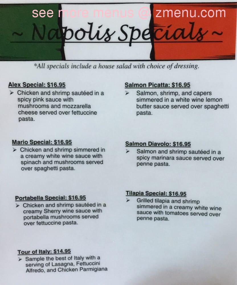 Online Menu Of Napoli 39 S Italian Restaurant Restaurant Garden City Kansas 67846 Zmenu