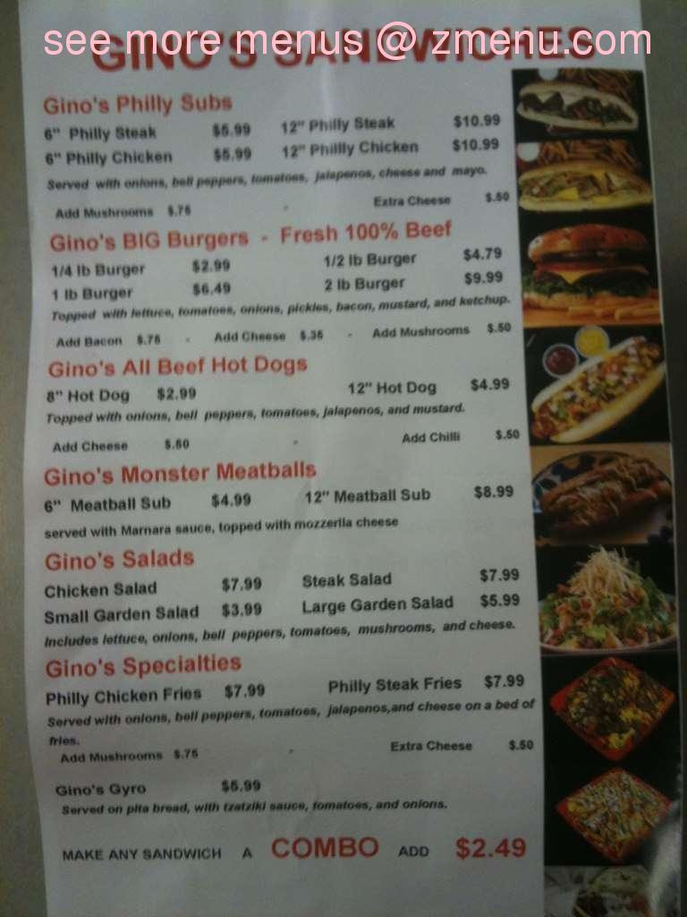 online menu of gino's pizzeria & philly steaks restaurant, little