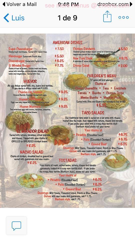 Online Menu of El Mirador Restaurant, Blackfoot, Idaho