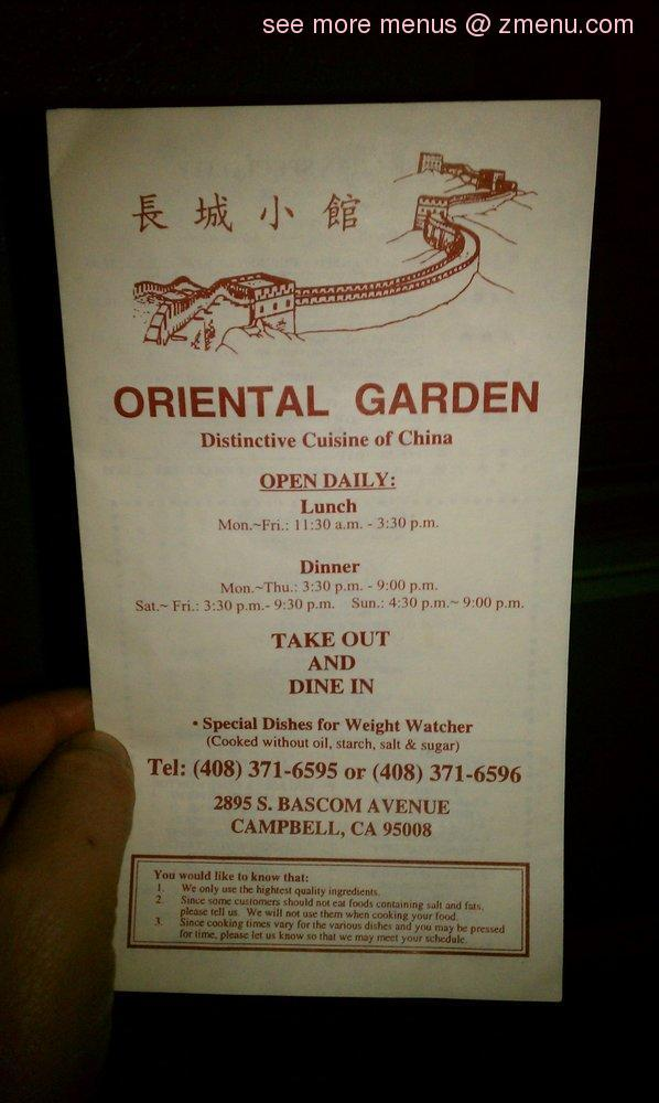 note the menu prices may subject to change - Oriental Garden Menu