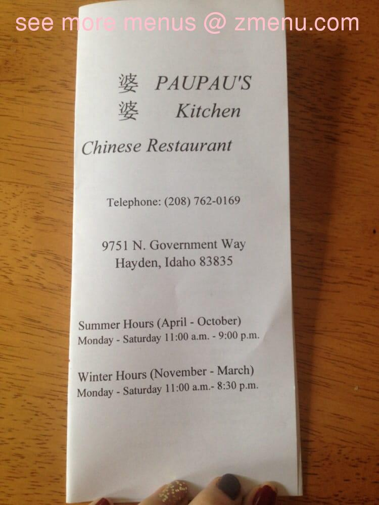 Paupaus Kitchen Menu
