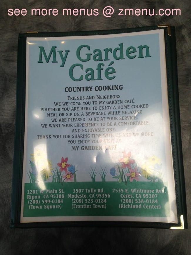 online menu of my garden cafe restaurant modesto california 95355 zmenu