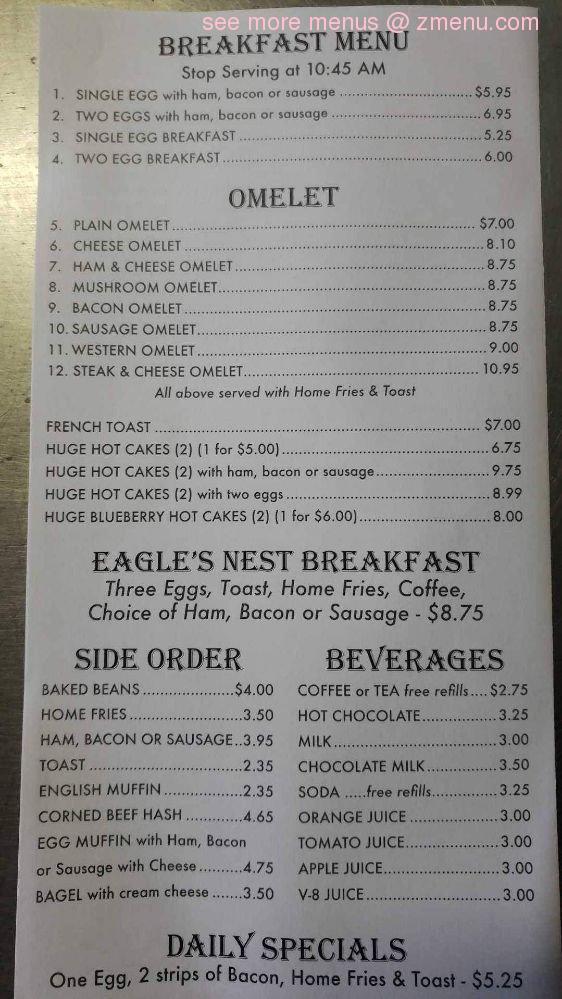 Online Menu Of Eagles Nest Restaurant Restaurant Brewer