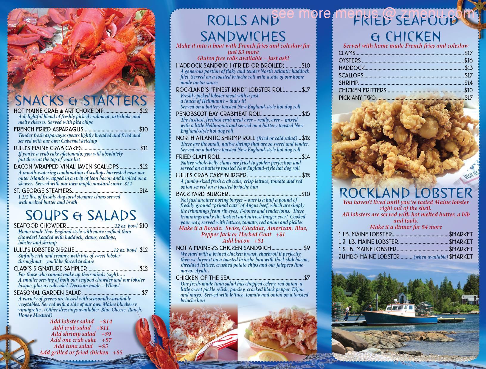 Online Menu of Claws Restaurant, Rockland, Maine, 04841 - Zmenu