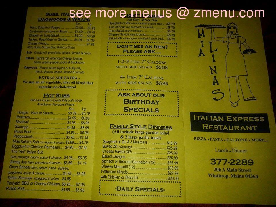 Lina S Restaurant Menu